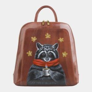 Уникальный светло-коричневый рюкзак с росписью ATS-2557