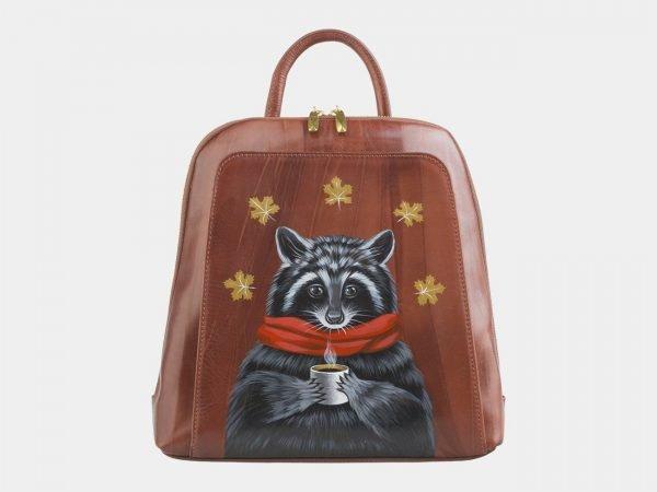 Деловой светло-коричневый рюкзак с росписью ATS-2557