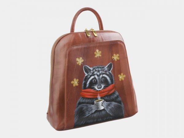 Солидный светло-коричневый рюкзак с росписью ATS-2557