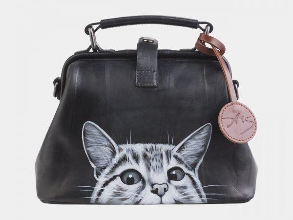 Уникальная черная сумка с росписью ATS-2562