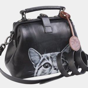Уникальная черная сумка с росписью ATS-2562 214924
