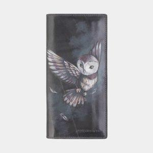 Солидный серый портмоне с росписью ATS-2572