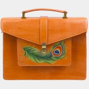 Модный оранжевый портфель с росписью ATS-2577