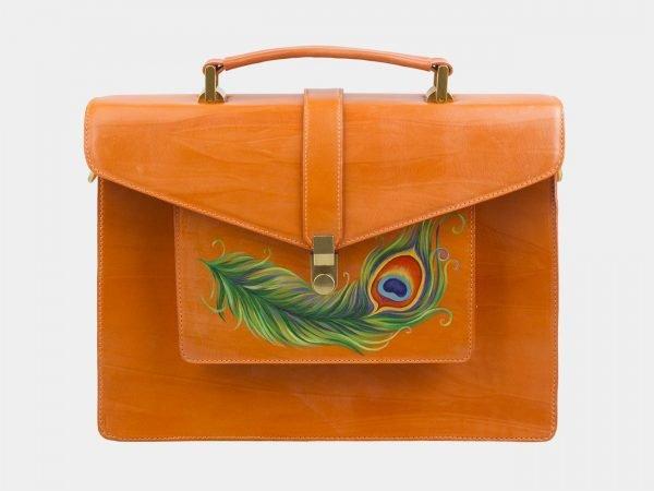 Солидный оранжевый портфель с росписью ATS-2577