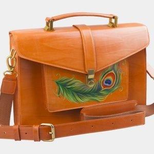 Солидный оранжевый портфель с росписью ATS-2577 214867