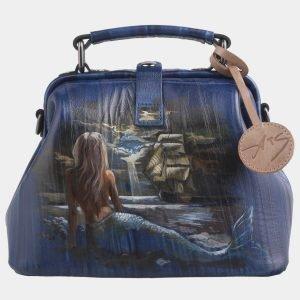 Модная синяя сумка с росписью ATS-2578