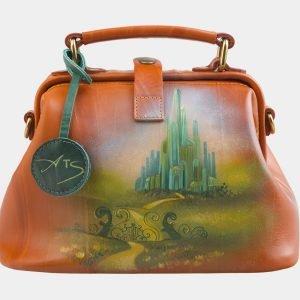 Солидная оранжевая сумка с росписью ATS-2579