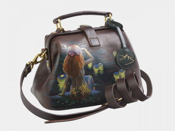 Деловая коричневая сумка с росписью ATS-2581