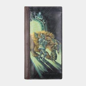 Стильный зеленый портмоне с росписью ATS-2574
