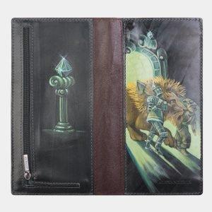 Модный зеленый портмоне с росписью ATS-2574