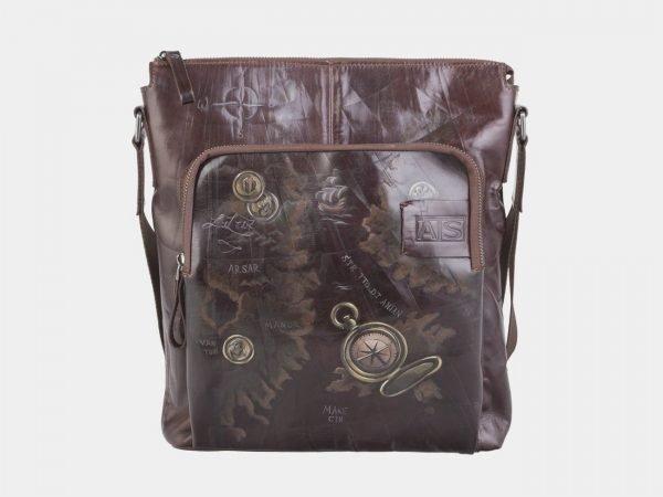 Удобный коричневый портфель с росписью ATS-2609