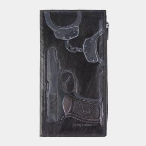 Деловой черный портмоне с росписью ATS-2610