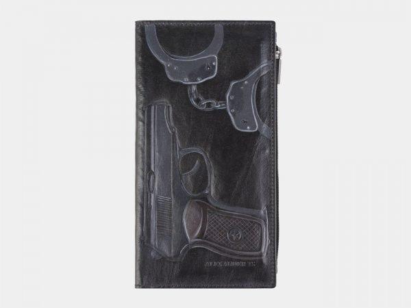 Неповторимый черный портмоне с росписью ATS-2610