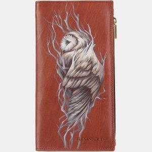 Солидный светло-коричневый портмоне с росписью ATS-2028