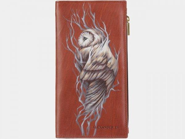 Модный светло-коричневый портмоне с росписью ATS-2028
