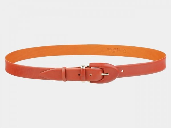 Кожаный оранжевый женский модельный ремень ATS-2018