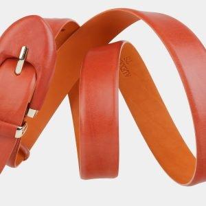 Кожаный оранжевый женский модельный ремень ATS-2018 215996