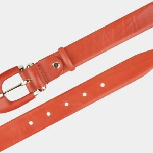 Кожаный оранжевый женский модельный ремень ATS-2018 215995