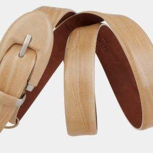Кожаный бежевый женский модельный ремень ATS-2020 215992