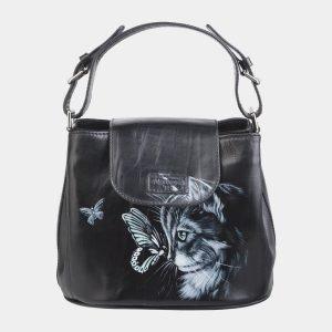 Стильная черная сумка с росписью ATS-2621