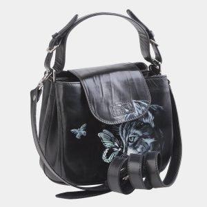 Стильная черная сумка с росписью ATS-2621 214718