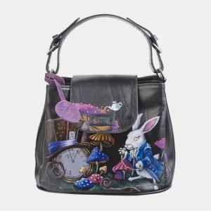 Уникальная черная сумка с росписью ATS-2622