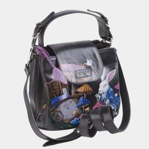 Уникальная черная сумка с росписью ATS-2622 214713