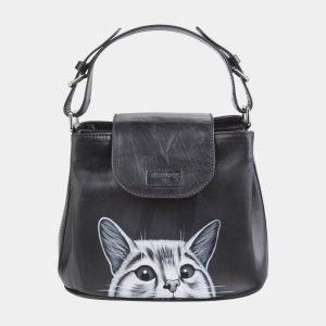 Функциональная черная сумка с росписью ATS-2623