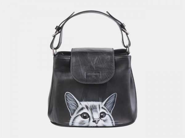 Вместительная черная сумка с росписью ATS-2623