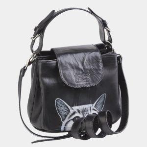 Функциональная черная сумка с росписью ATS-2623 214708