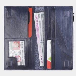 Вместительный синий портмоне с росписью ATS-2657 214601