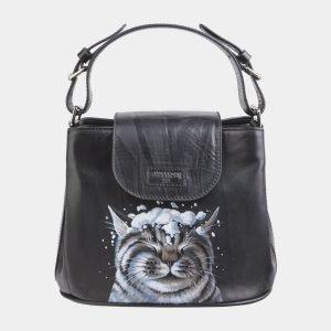 Стильная черная сумка с росписью ATS-2624
