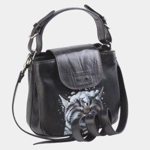 Стильная черная сумка с росписью ATS-2624 214703