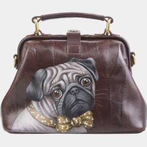 Солидная коричневая сумка с росписью ATS-2682