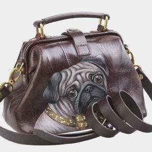 Солидная коричневая сумка с росписью ATS-2682 214564