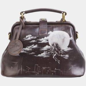 Стильная коричневая сумка с росписью ATS-2683