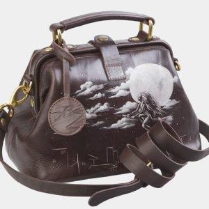 Стильная коричневая сумка с росписью ATS-2683 214559