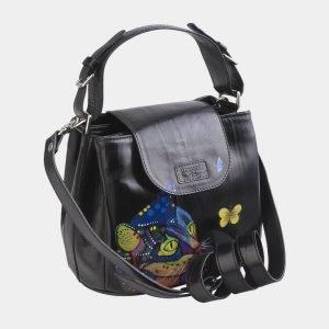 Уникальная черная сумка с росписью ATS-2688 214539