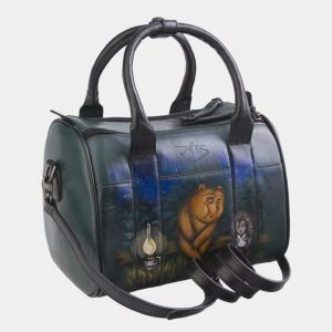 Удобная зеленая сумка с росписью ATS-2690