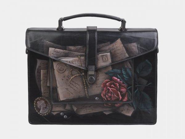 Модный черный портфель с росписью ATS-2696