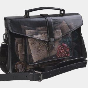 Модный черный портфель с росписью ATS-2696 214516