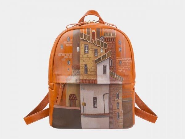 Модный оранжевый рюкзак с росписью ATS-2709