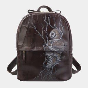 Вместительный коричневый рюкзак с росписью ATS-2710