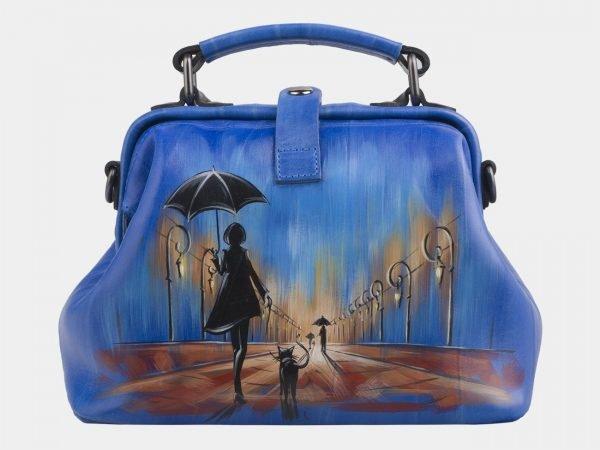 Солидная голубовато-синяя сумка с росписью ATS-2701