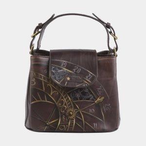 Солидная коричневая сумка с росписью ATS-2741