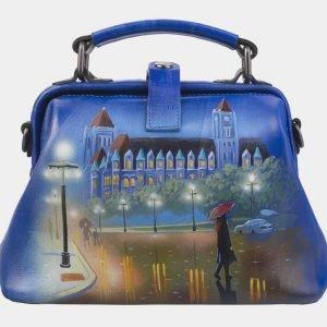 Вместительная голубовато-синяя сумка с росписью ATS-2812