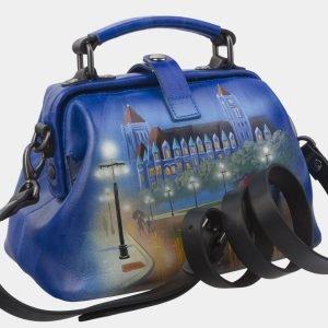 Вместительная голубовато-синяя сумка с росписью ATS-2812 214308