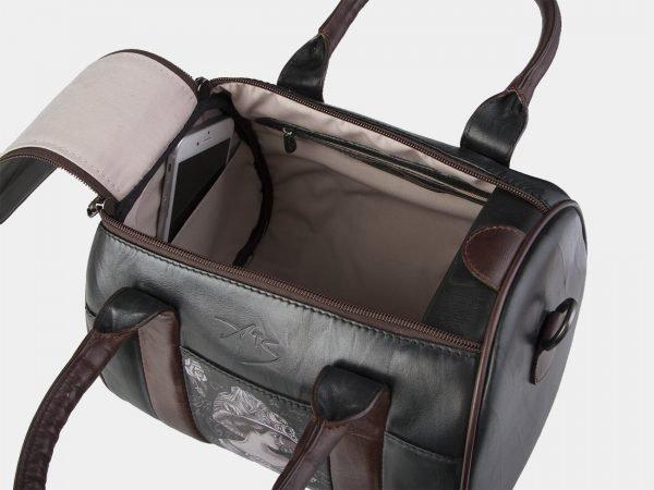 Солидная черная сумка с росписью ATS-2114