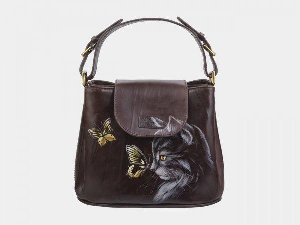 Модная коричневая сумка с росписью ATS-2822