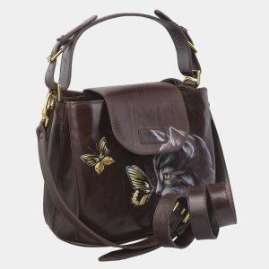 Модная коричневая сумка с росписью ATS-2822 214268
